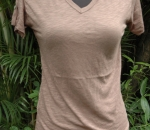 brown v-neck tee
